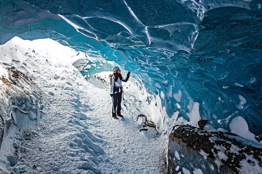 ICE CAVE ICELAND GLACIER HIKING GIRL INSTAGRAM